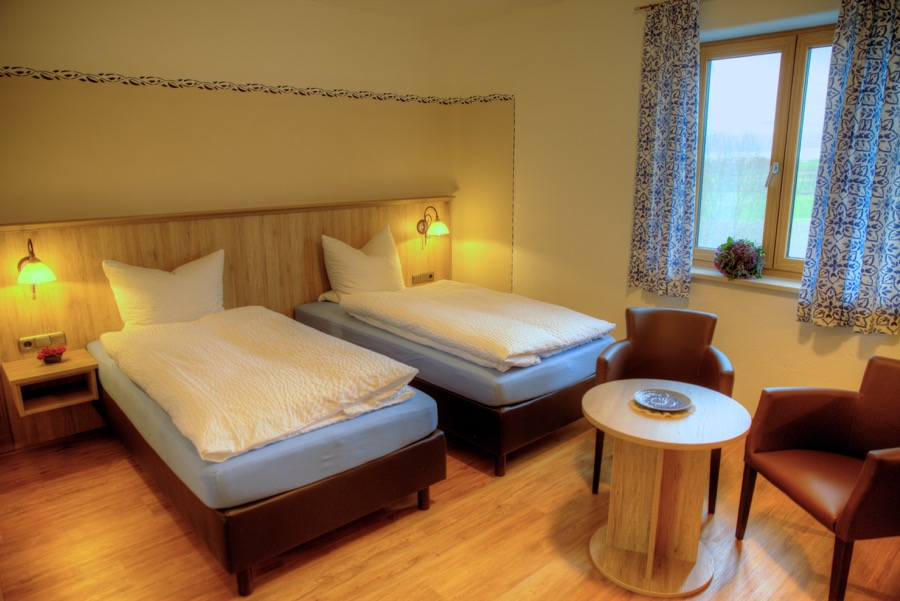 Betten im Doppelzimmer können je nach Bedarf auch getrennt werden